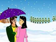 Snow fall kissing