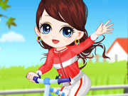 Girl Learn Bicycle